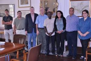 (left to right): Iliass Khaddour, PHD Student civil engineering, Dr Abdessamad Bernoussi, Professor of Mathematics, John Davison, TALIM Director, Dr Greg White, Professor of Government, Hamadou Kamara, PHD Student Hydrology, Dr Mharef Amina, Professor of Hydrology, Dr Adil Alaoui, Professor of Civil Engineering, Yhtimad Bouziane, Associate Director TALIM