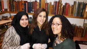 Grecia, Dunya and Majda inside the rare books cage