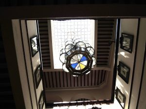 View from the ground floor upward to the lantern and skylight